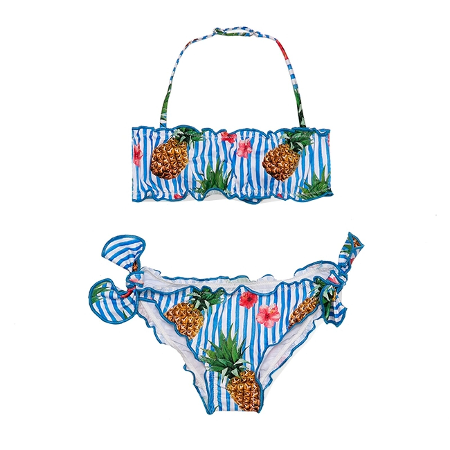 Bikini A Fascia Frou Frou Da Bimba Stampa Ananas - MC2 Saint Barth Junior