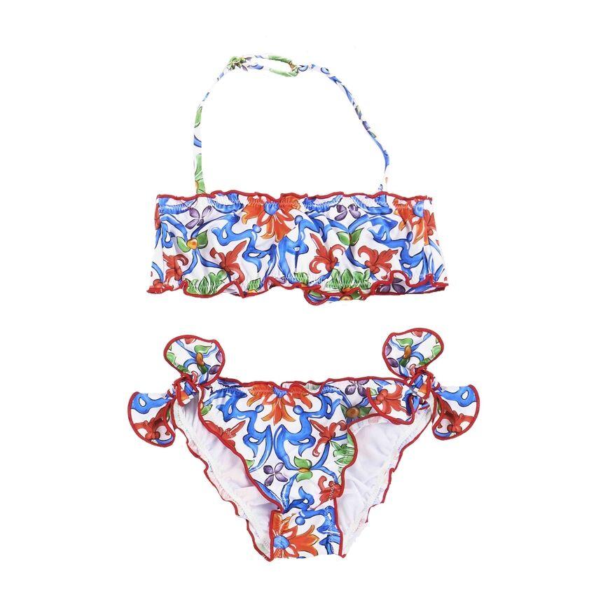 Bikini A Fascia Frou Frou Da Bimba Stampa Majolica - MC2 Saint Barth Junior