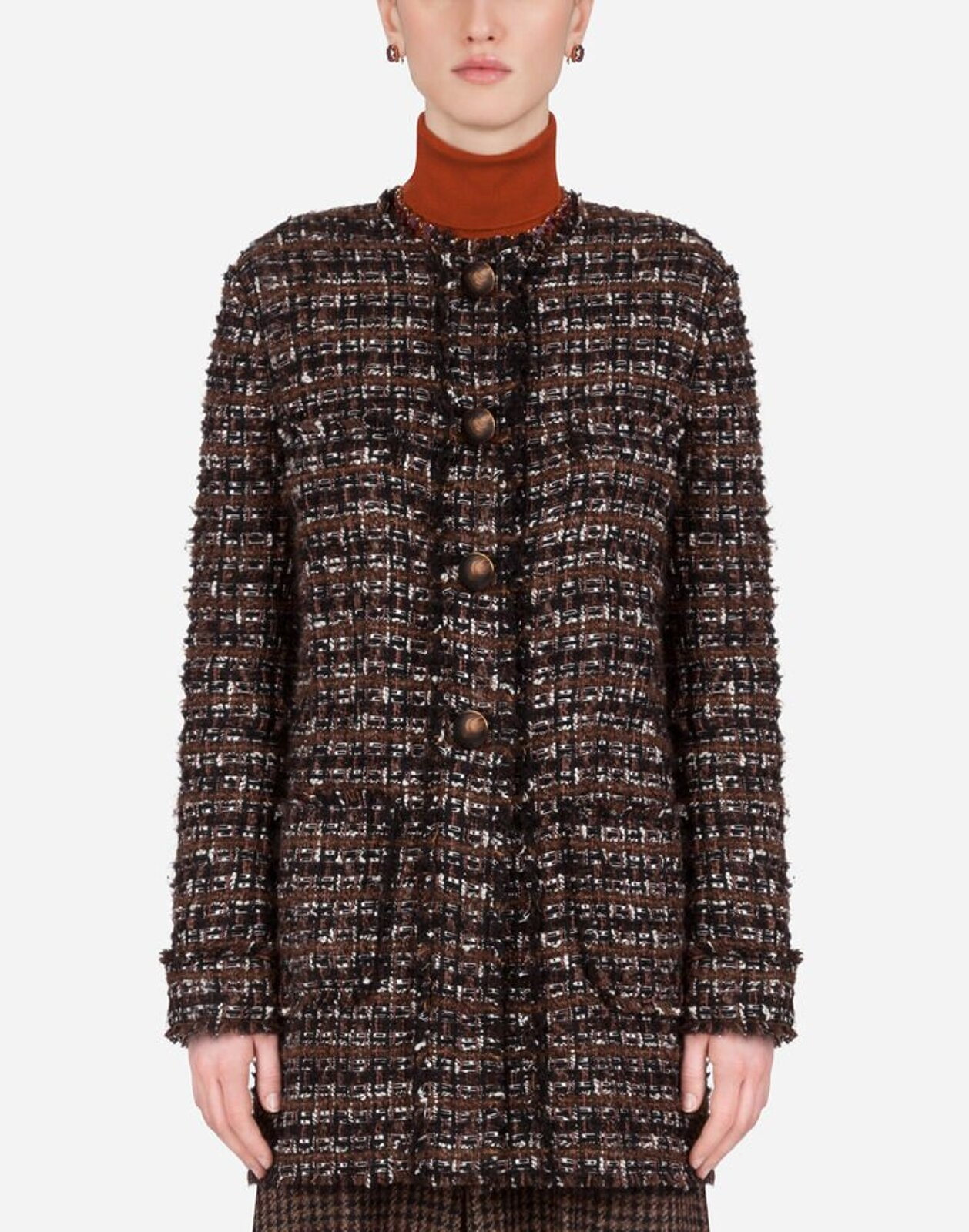 Short Tweed Coat With Horn Buttons - Dolce & Gabbana