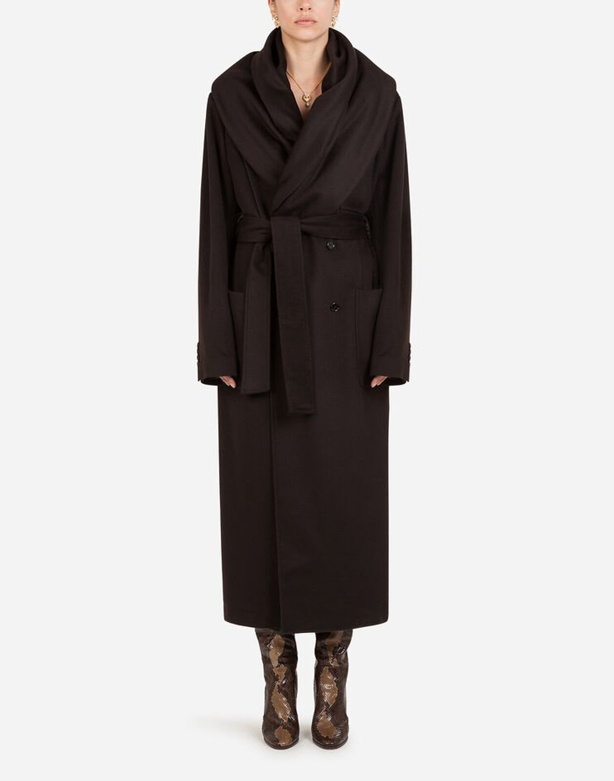 Cashmere Robe Coat With Belt - Dolce & Gabbana