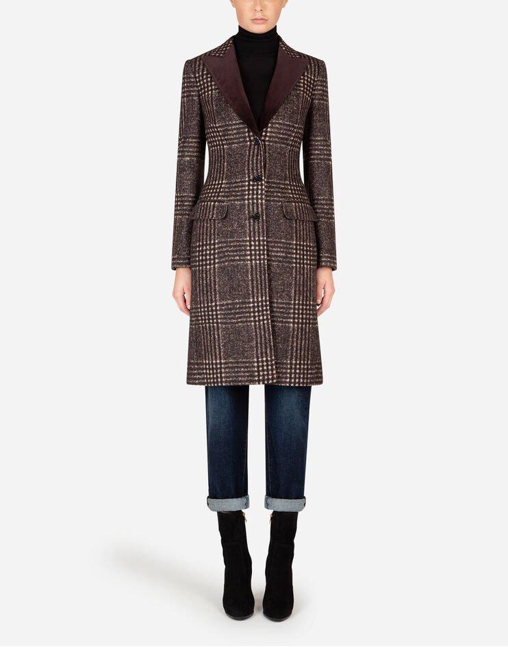 Cappotto Monopetto In Tweed Tartan - Dolce & Gabbana