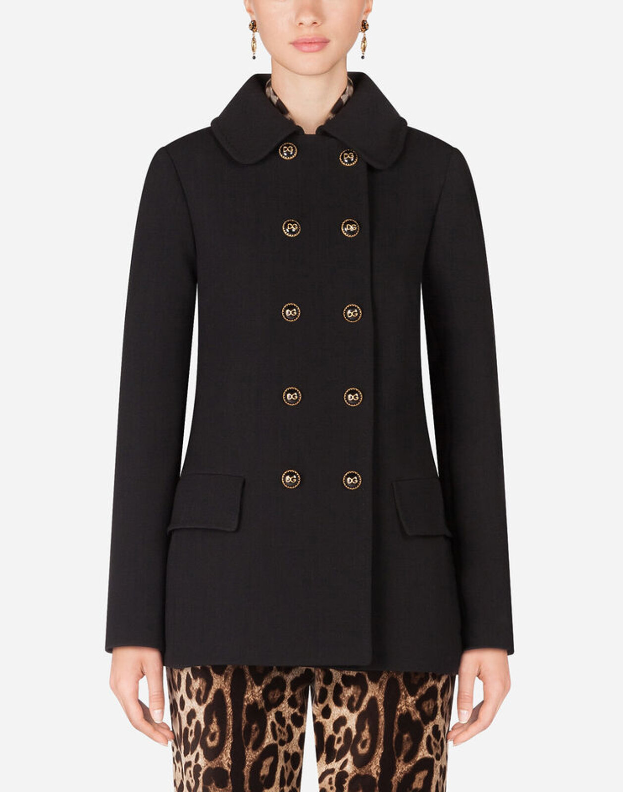 Natté Peacoat With Decorative Buttons - Dolce & Gabbana