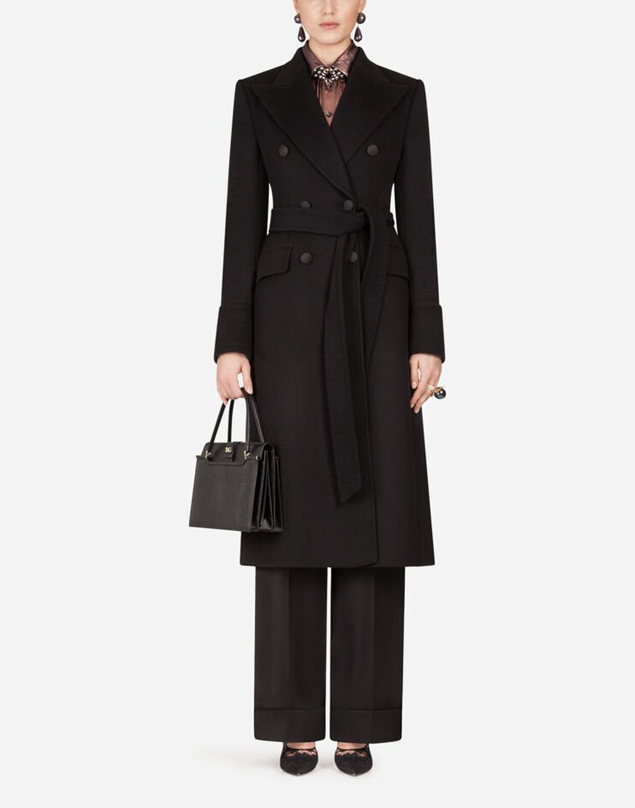 Double-Breasted Coat In Wool Cloth With Belt - Dolce & Gabbana