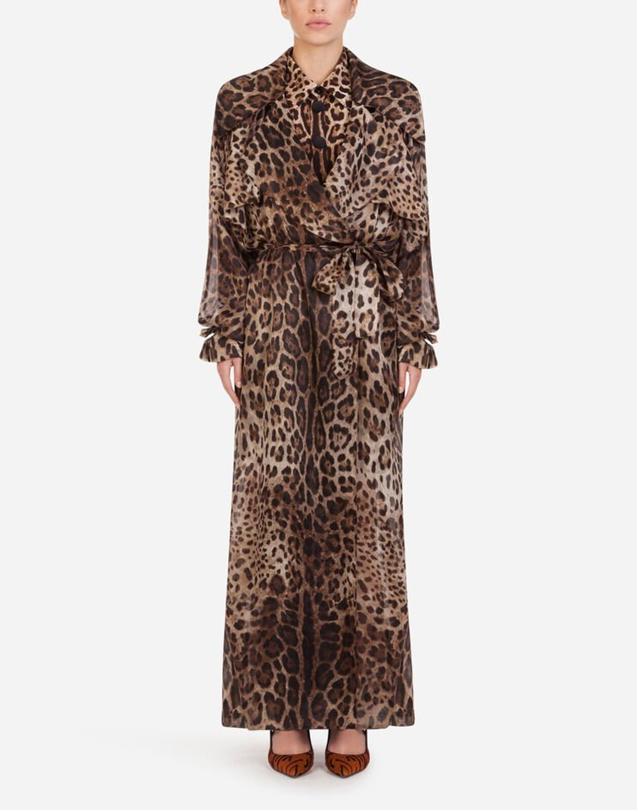 Trench In Organza Stampa Leopardo - Dolce & Gabbana