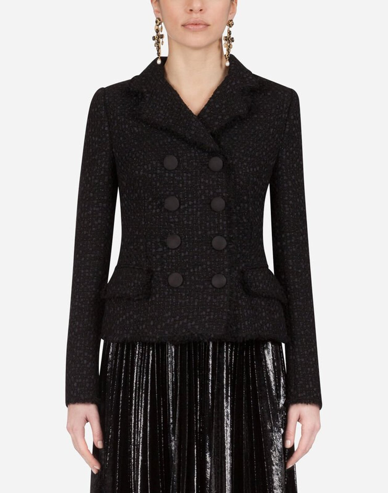 Short Double-Breasted Tweed Jacket - Dolce & Gabbana