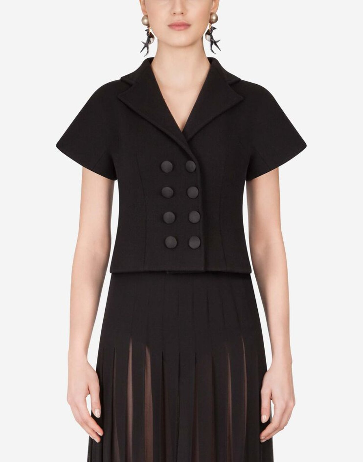 Double-Breasted Short Sleeved Wool Jacket - Dolce & Gabbana