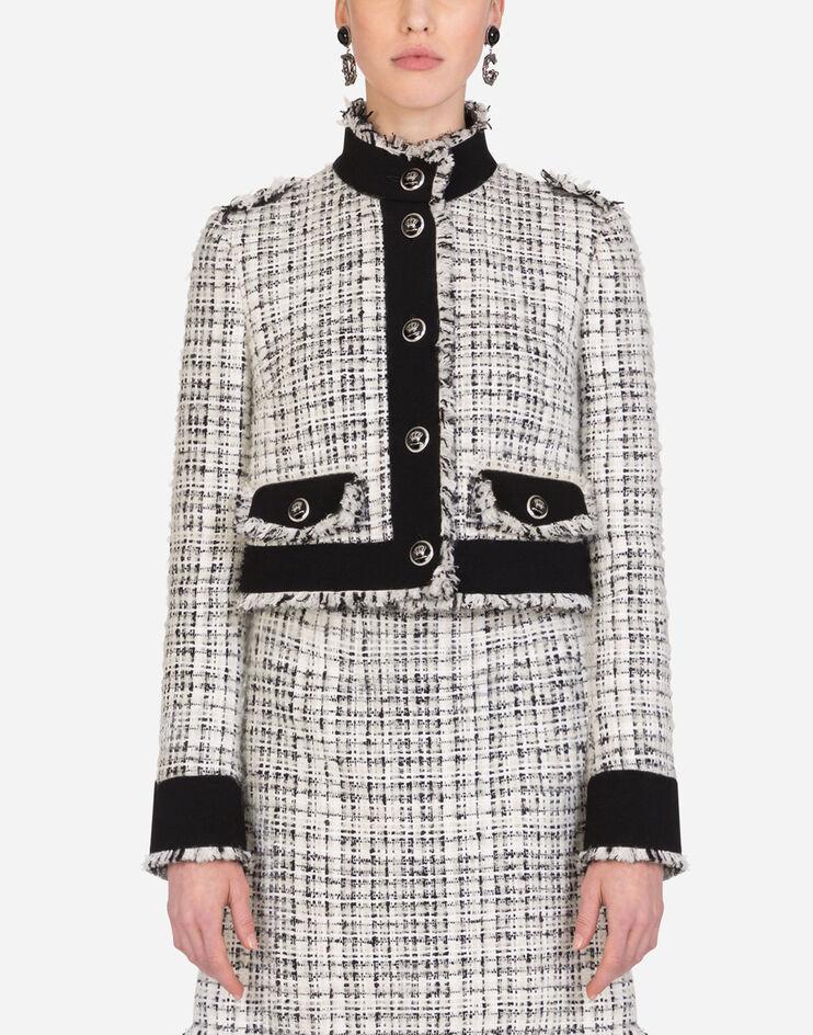 Giacchina Monopetto In Tweed Con Bottoni Decoro - Dolce & Gabbana