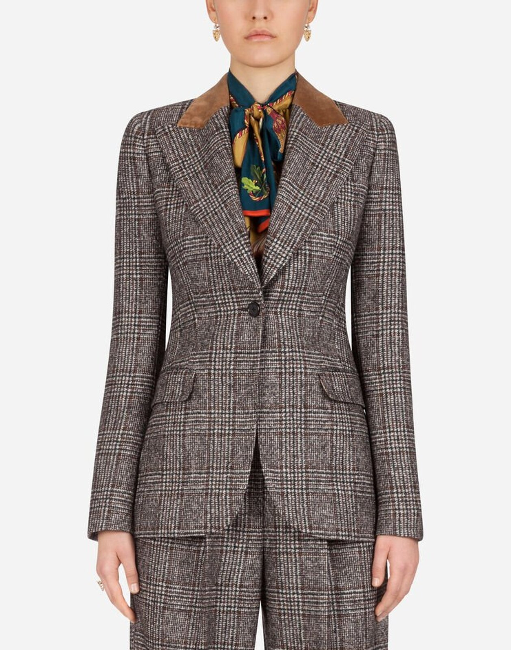 Giacca Monopetto In Principe Di Galles Con Colletto In Velluto - Dolce & Gabbana