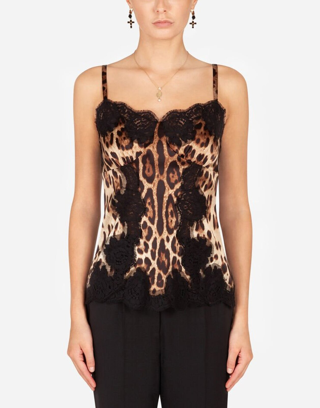 Leopard Print Satin Strappy Top With Lace Details - Dolce & Gabbana
