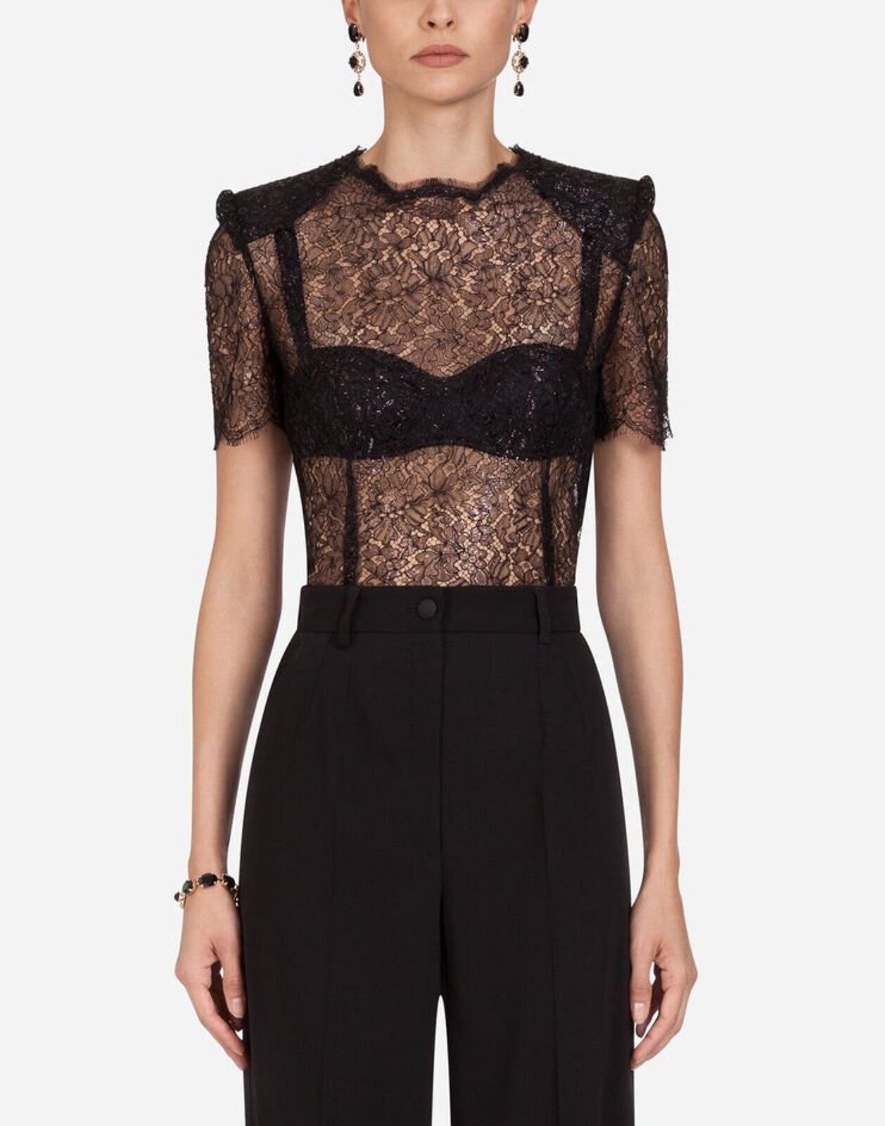 Short Sleeve Top In Lamé Lace - Dolce & Gabbana