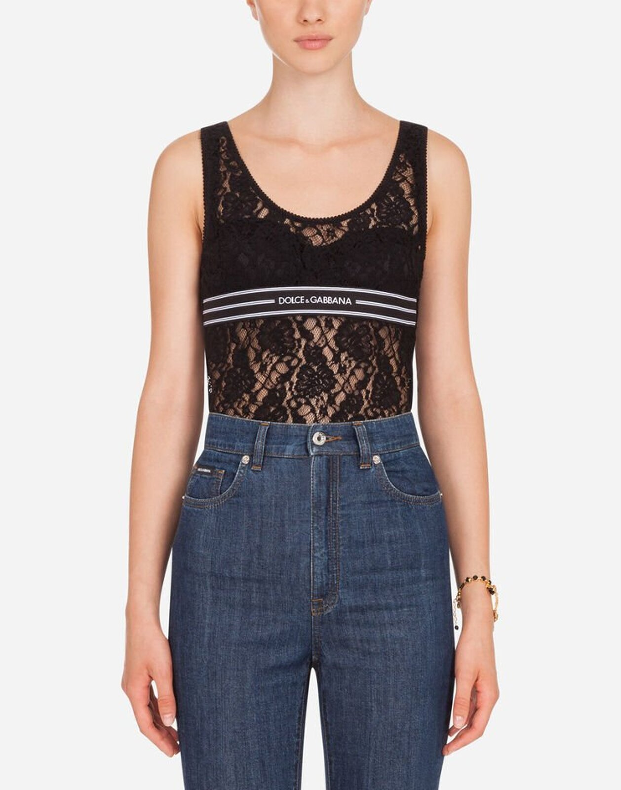 Lace Top With Logoed Elastic - Dolce & Gabbana