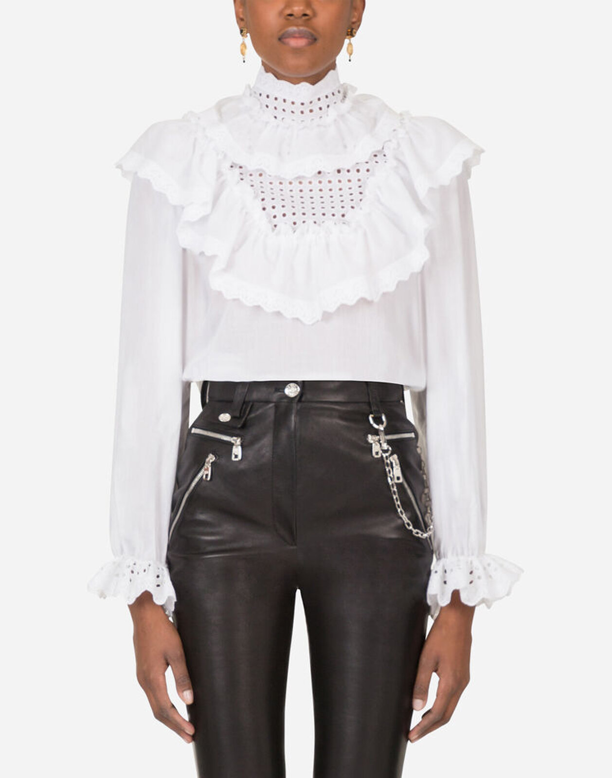 Cotton Blouse With Ruffles - Dolce & Gabbana
