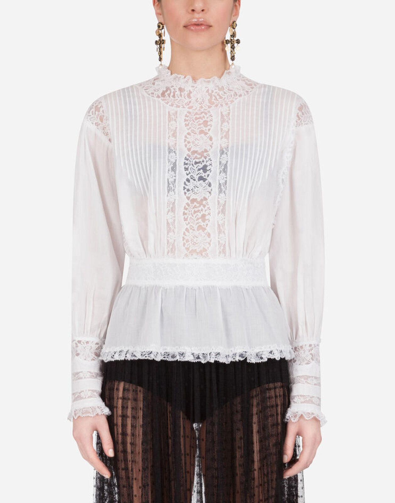 Muslin And Lace Blouse - Dolce & Gabbana