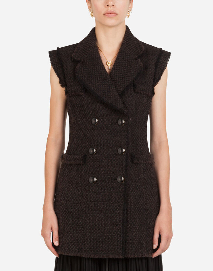 Gilet Lungo Doppiopetto In Tweed Bouclé - Dolce & Gabbana
