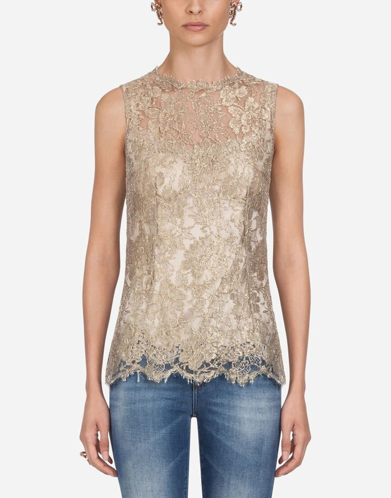 Top In Pizzo Chantilly Lamé - Dolce & Gabbana