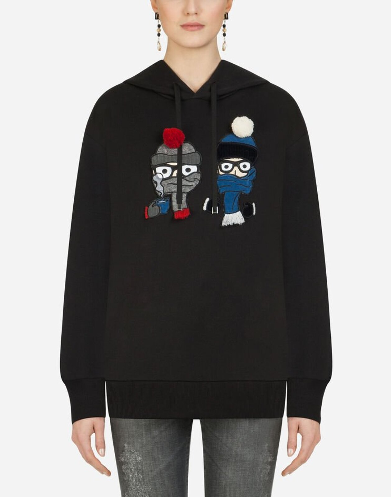 Hooded Sweatshirt With Designer Patches - Dolce & Gabbana