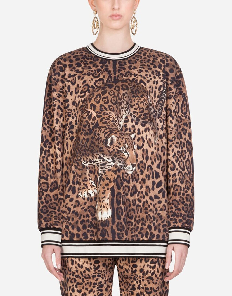 Felpa Girocollo In Jersey Stampa Leopardo - Dolce & Gabbana