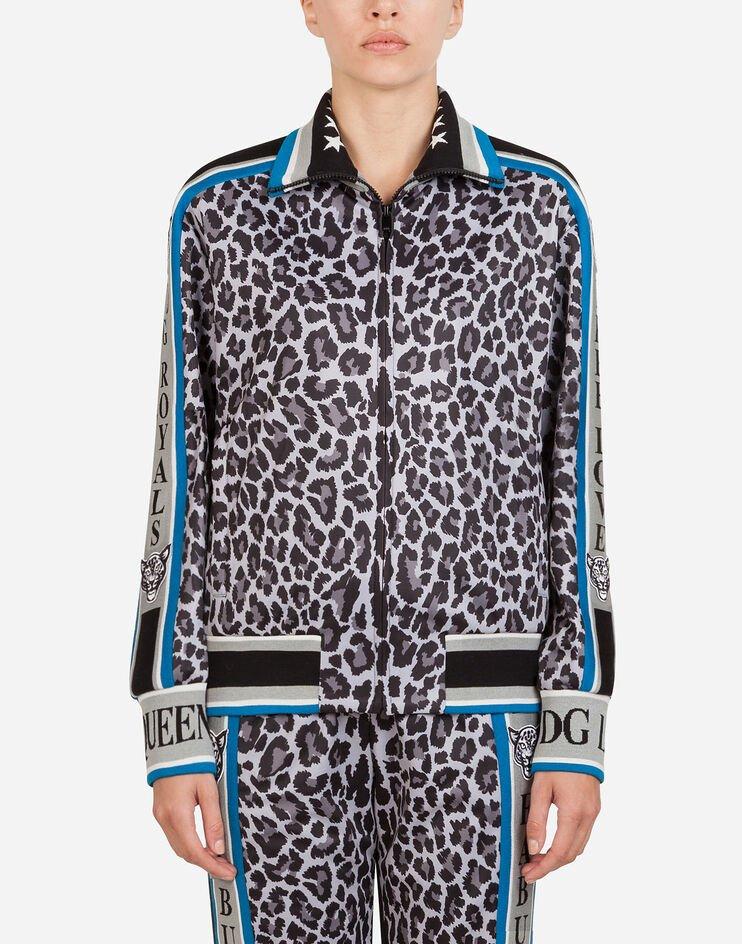 Felpa Con Zip Stampa Jungle Sport Leopardo - Dolce & Gabbana