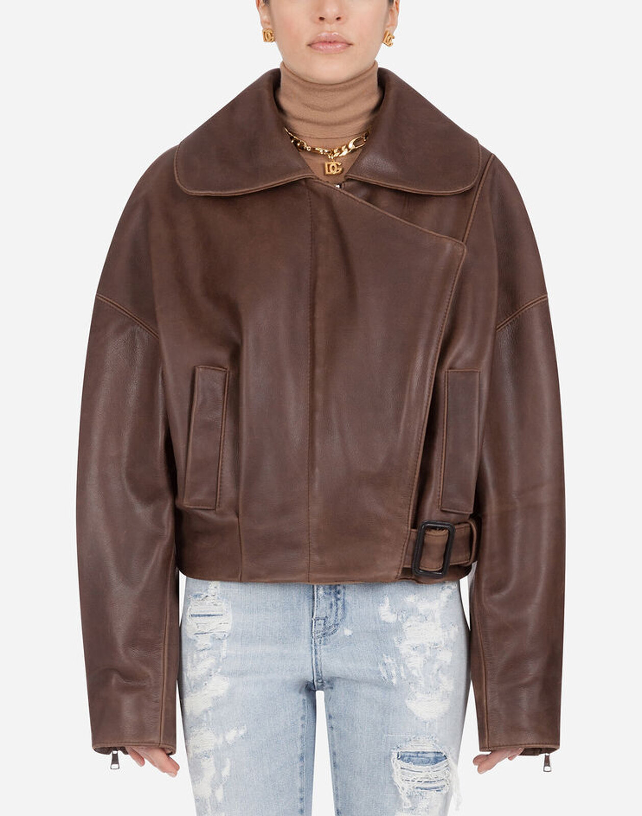 Hammered Nappa Leather Jacket - Dolce & Gabbana
