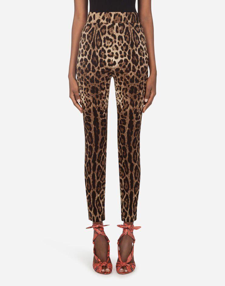Leggings In Charmeuse Stampa Leopardo - Dolce & Gabbana