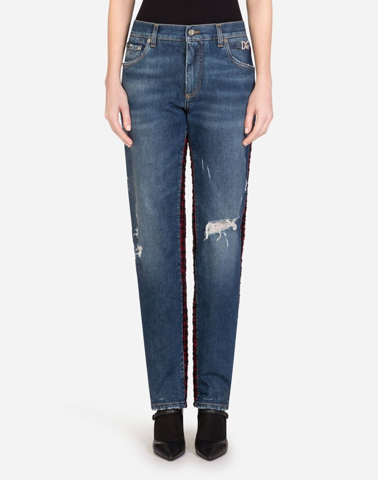 Jeans Fit Boyfriend In Denim E Tweed - Dolce & Gabbana