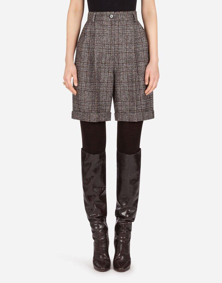 Shorts In Principe Di Galles Con Risvolto - Dolce & Gabbana
