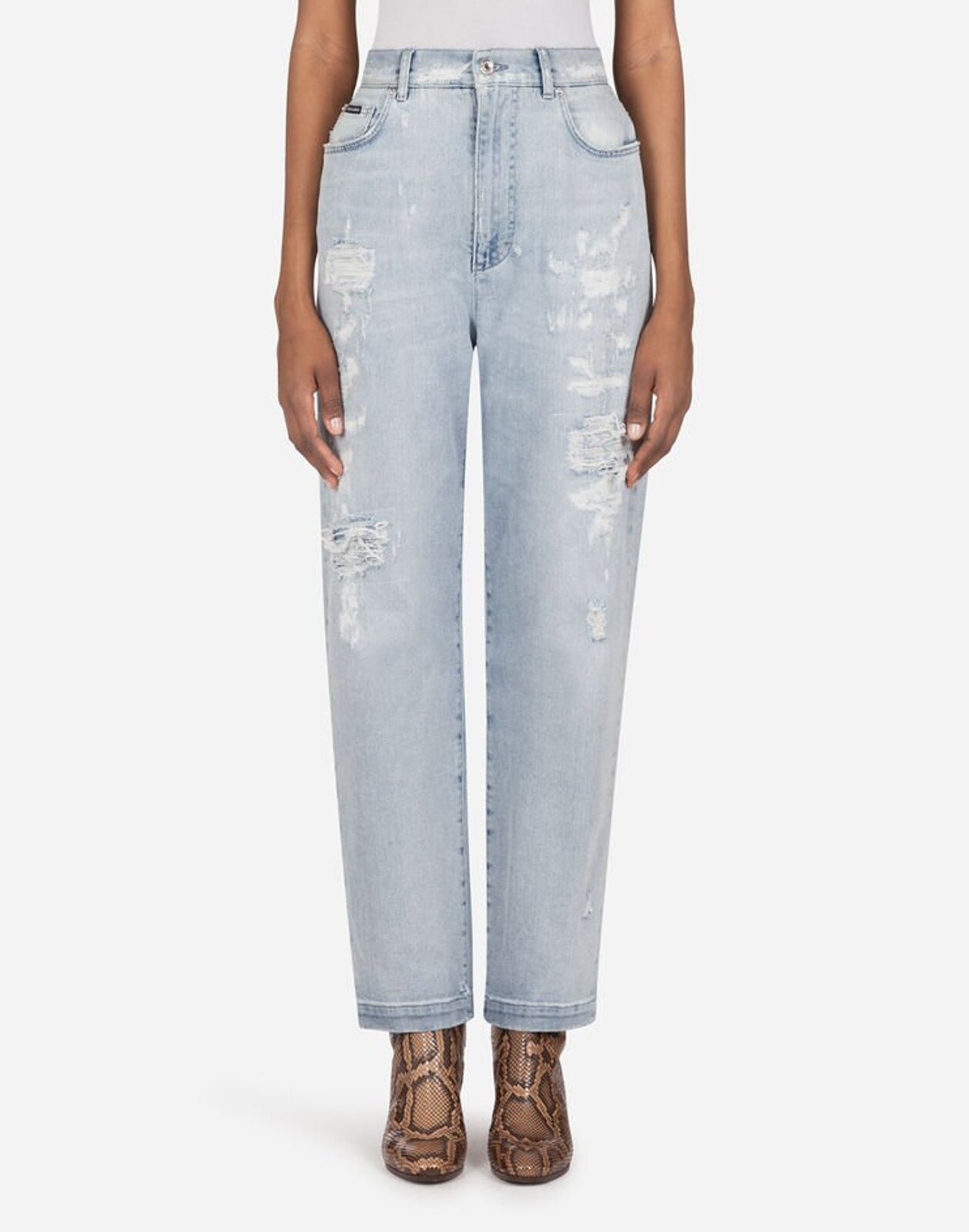Jeans Amber In Denim Light Blue Con Rotture - Dolce & Gabbana