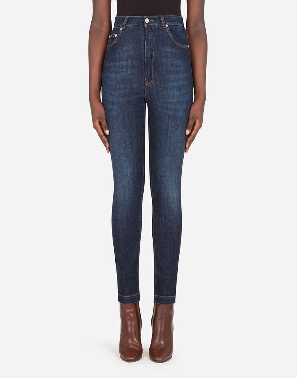 Jeans Vita Alta In Denim Deep Blue - Dolce & Gabbana