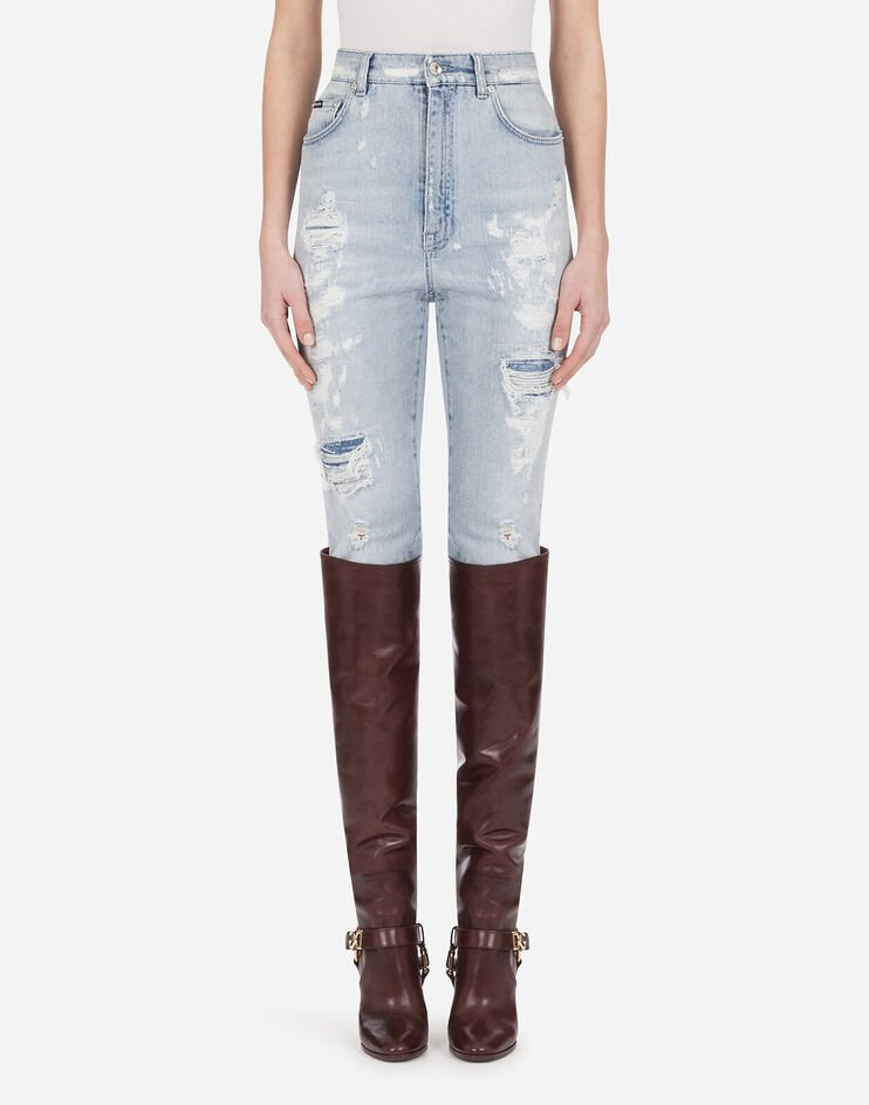 Jeans Audrey In Denim Light Blue Con Rotture - Dolce & Gabbana