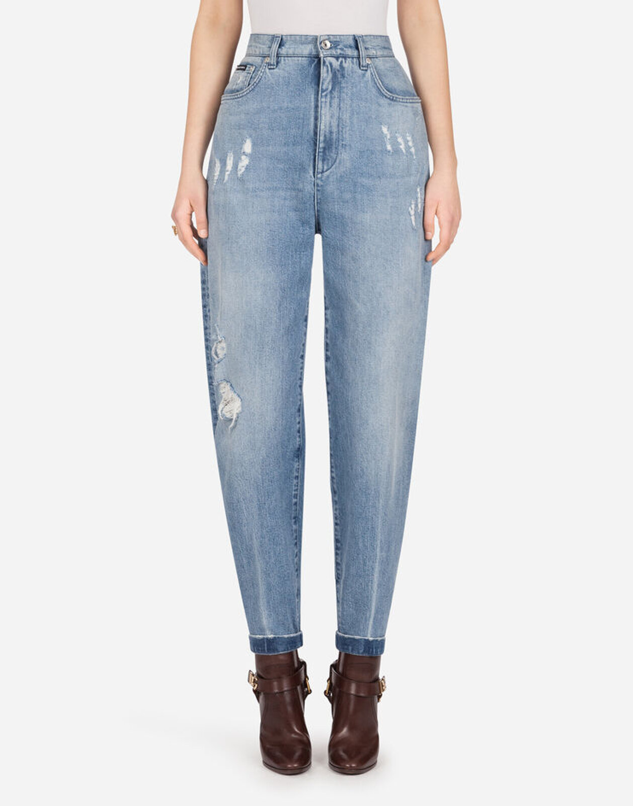 Jeans Boyfriend In Denim Light Blue Con Rotture - Dolce & Gabbana