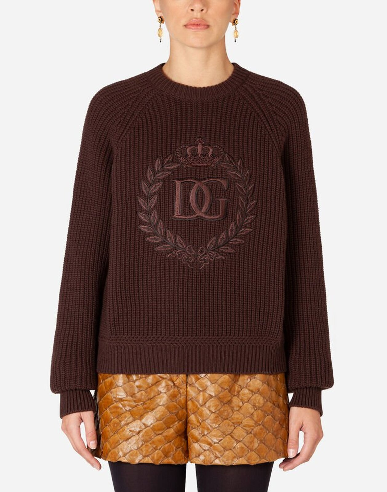High Neck Ribbed Cashmere Sweater With Embroidery - Dolce & Gabbana