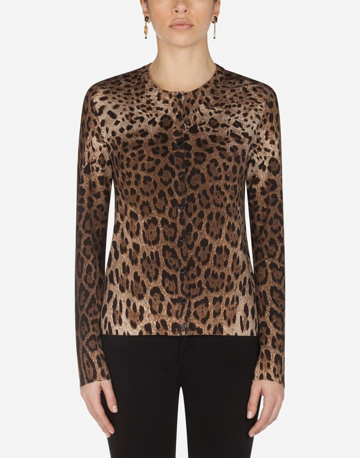 Leopard Print Wool Cardigan - Dolce & Gabbana