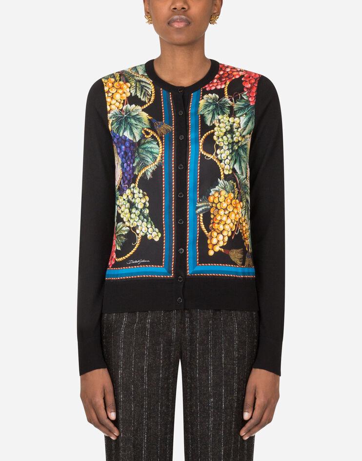 Cashmere Silk And Twill Grape Print Cardigan - Dolce & Gabbana