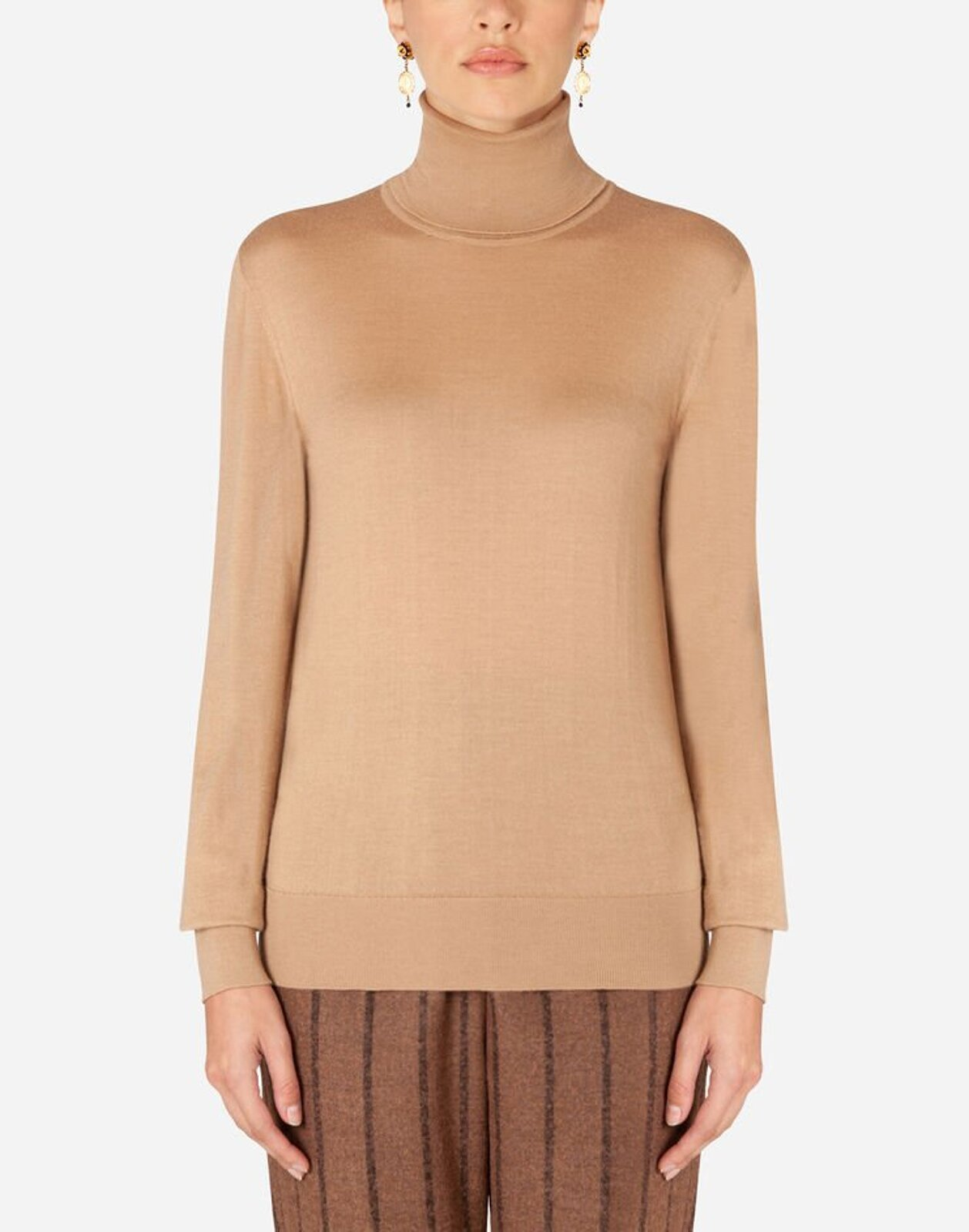 High neck sweater in cashmere and silk - Dolce & Gabbana