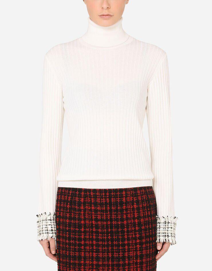 Maglia Collo Alto In Lana Con Polsi In Tweed - Dolce & Gabbana