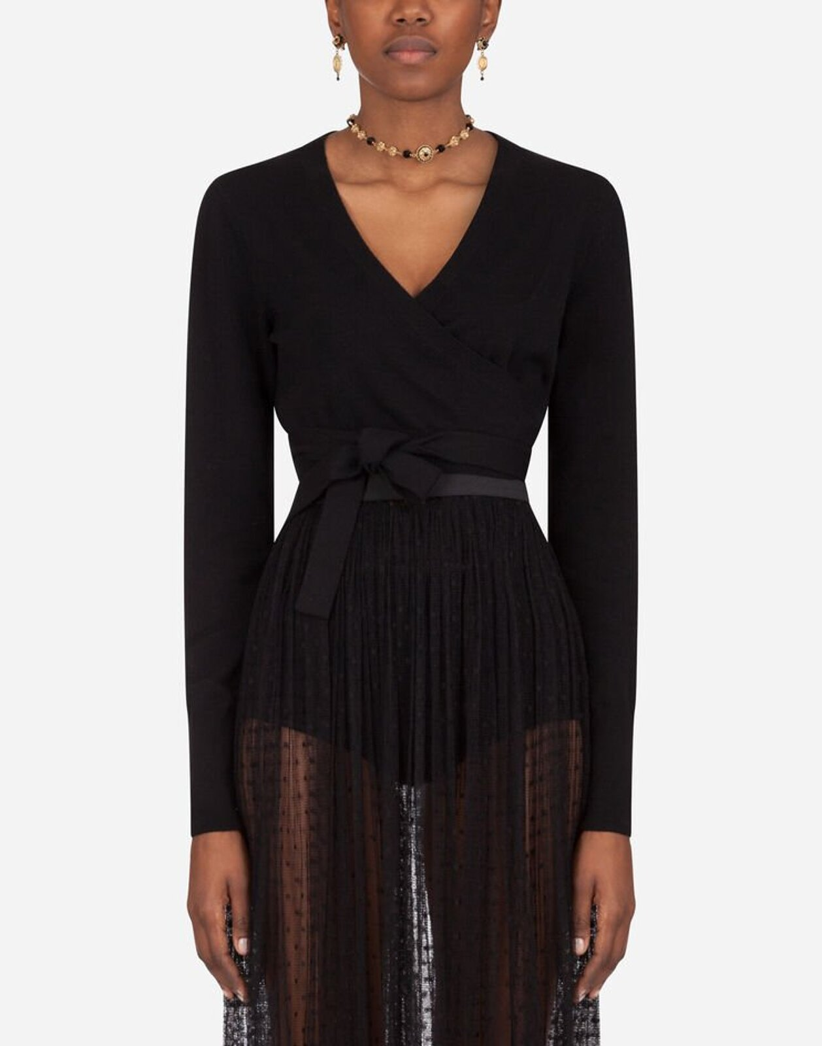 Short Cashmere Criss-Cross Cardigan - Dolce & Gabbana
