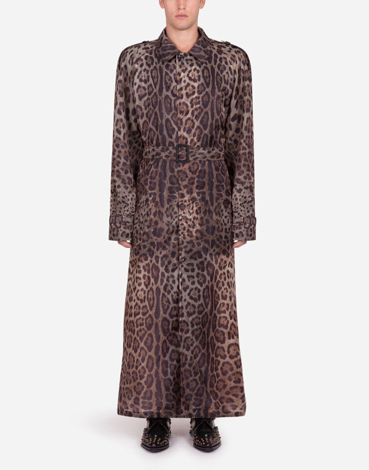 Trench Monopetto In Nylon Stampa Leopardo - Dolce & Gabbana
