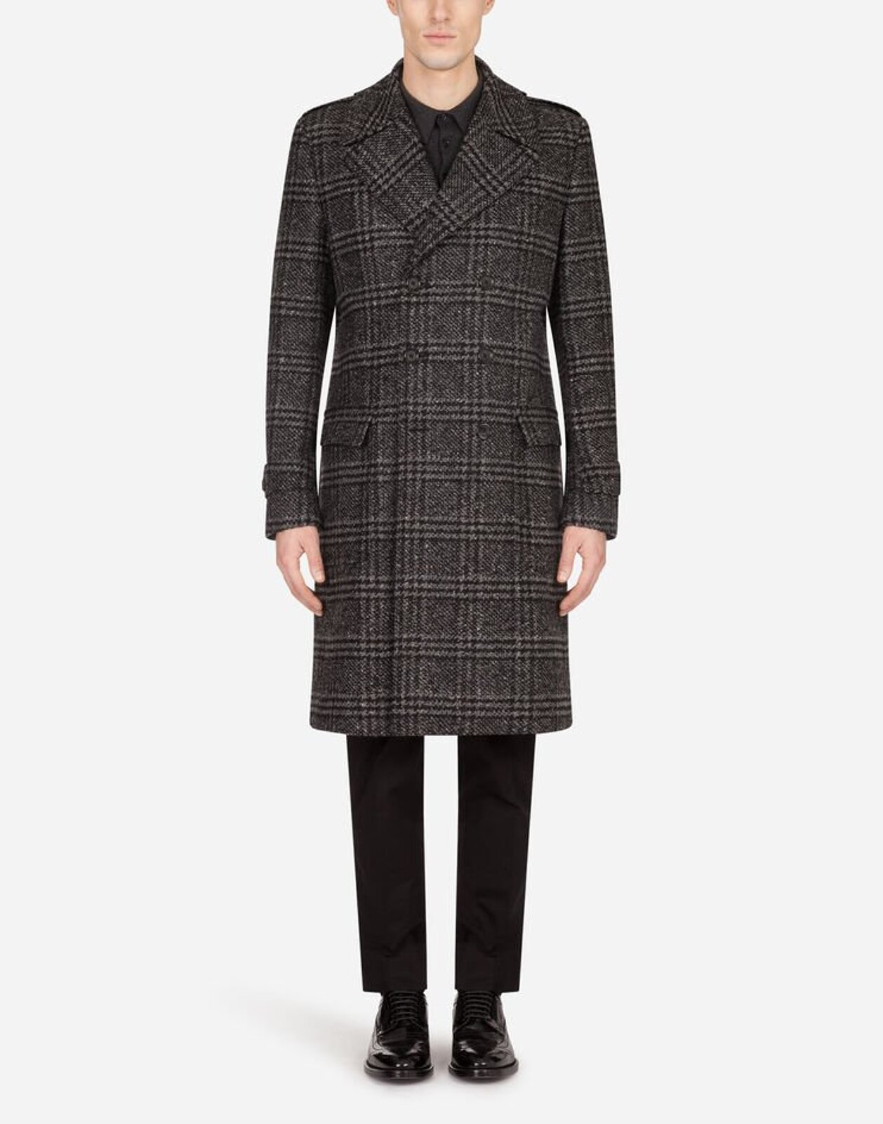 Double Breasted Prince Of Wales Wool Coat - Dolce & Gabbana