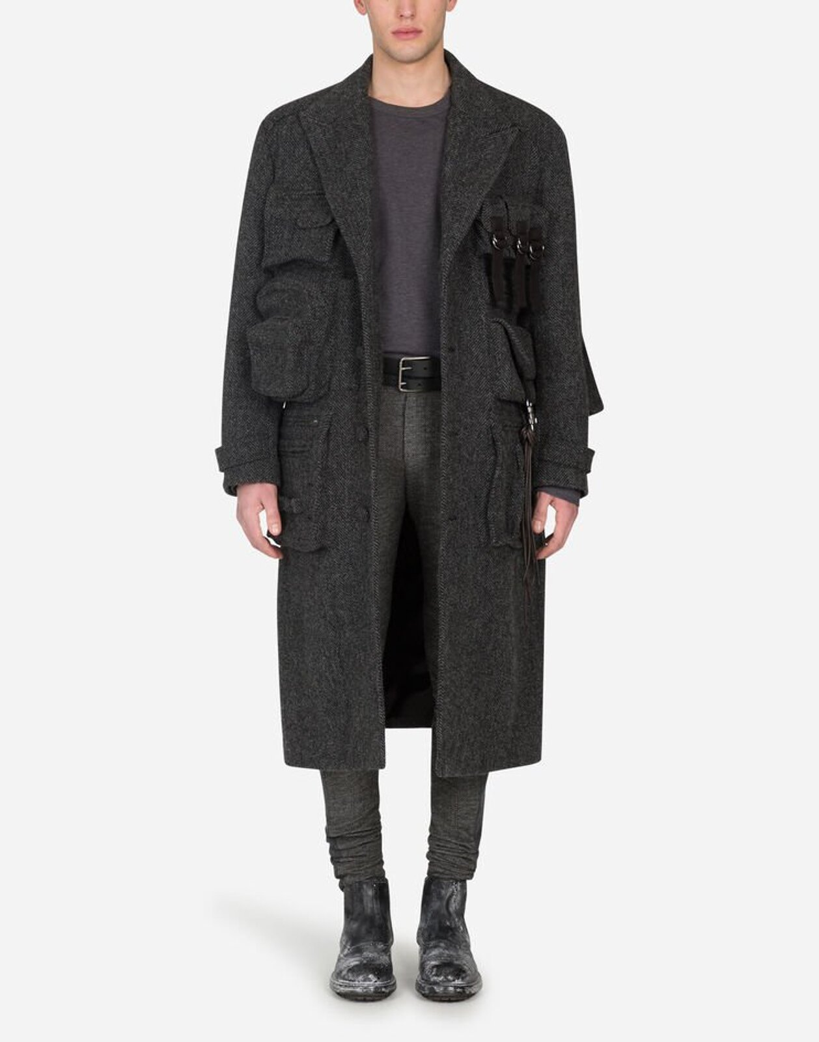 Single-Breasted Multi-Pocket Coat - Dolce & Gabbana