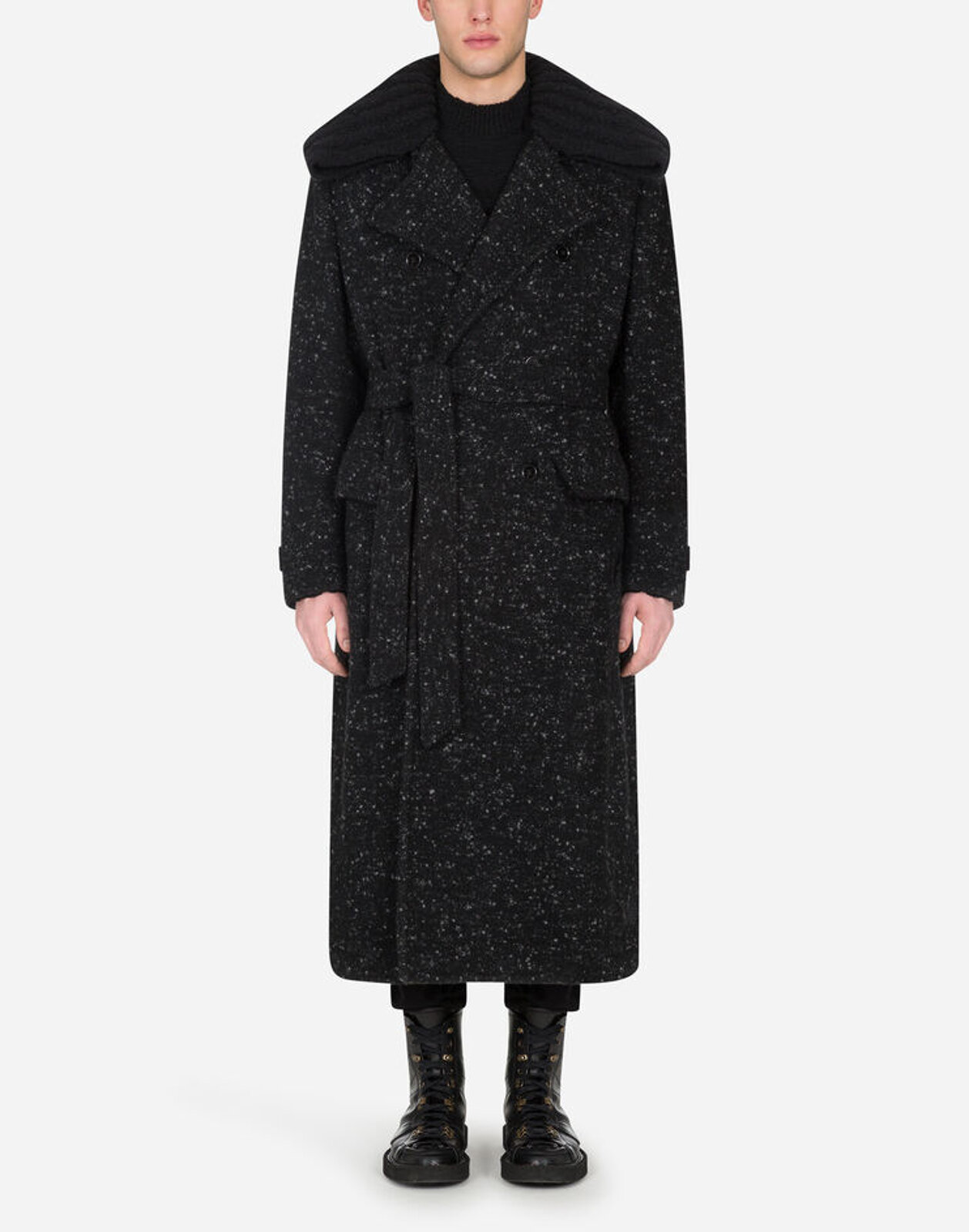 Double Breasted Coat With Belt - Dolce & Gabbana