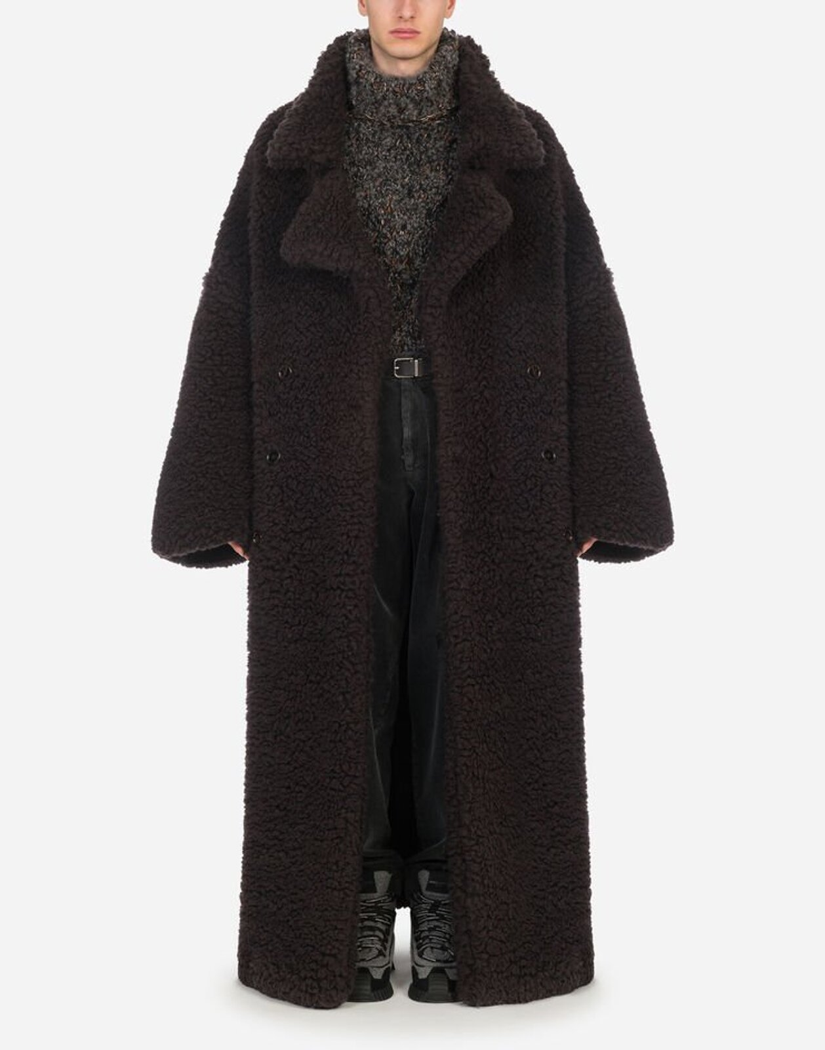 Double-Breasted Coat In Sheepskin - Dolce & Gabbana