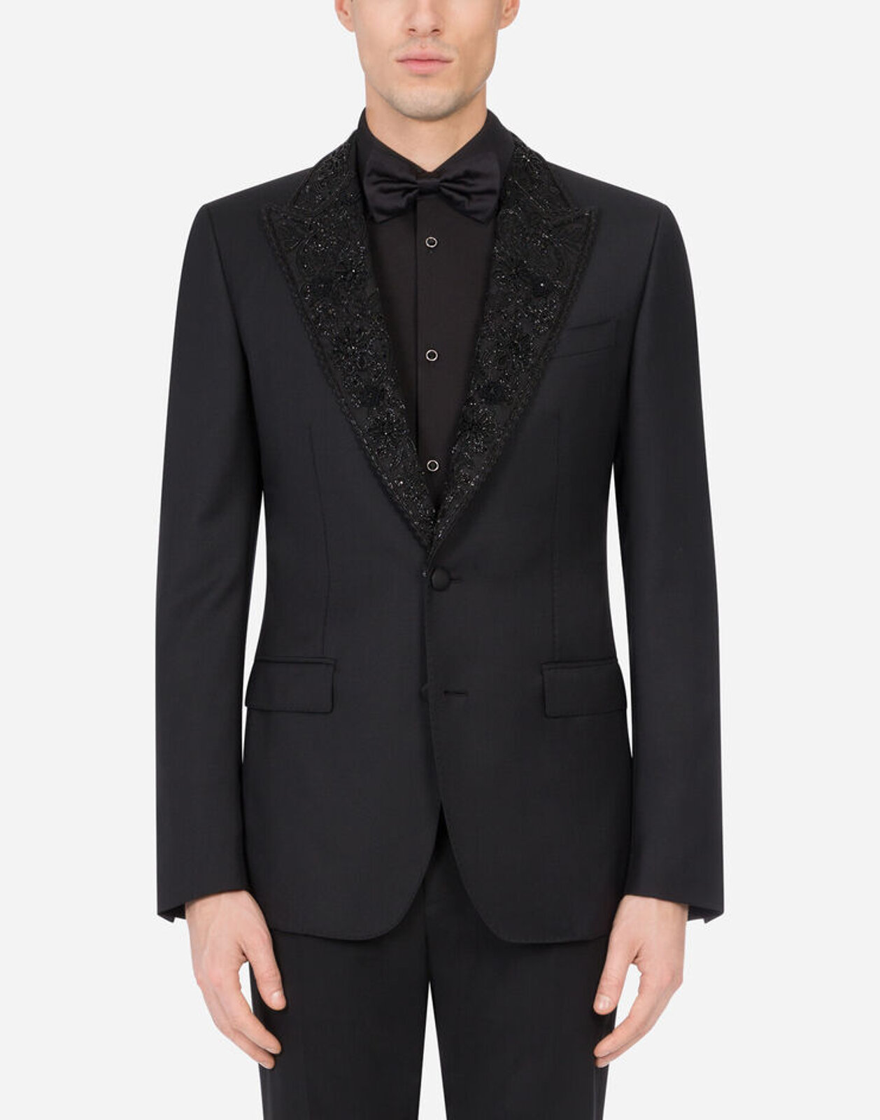 Taormina Tuxedo Jacket In Wool With Embroidery - Dolce & Gabbana