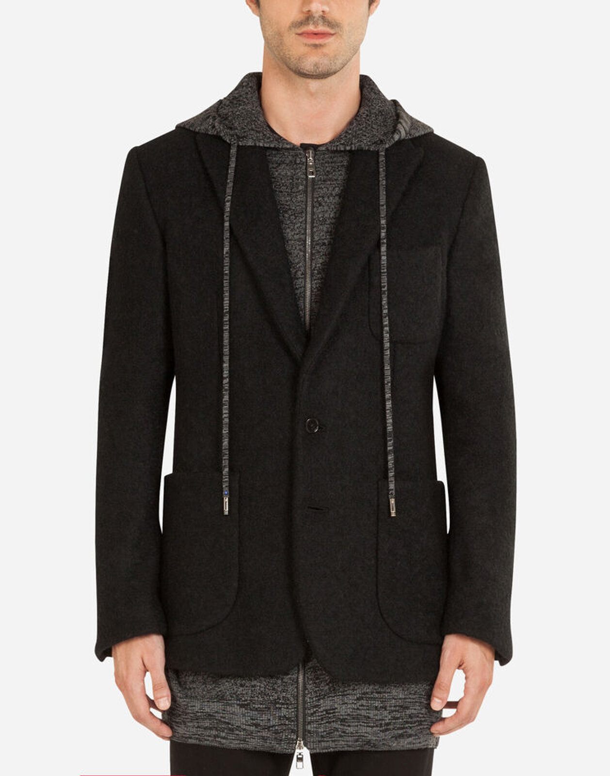 Wool Jacket With Knitted Cardigan - Dolce & Gabbana