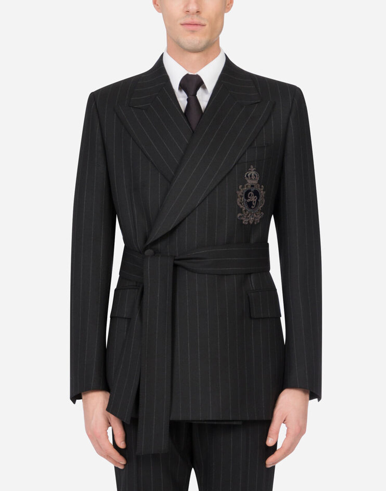 Pinstripe Wool Jacket With Belt And Patch - Dolce & Gabbana