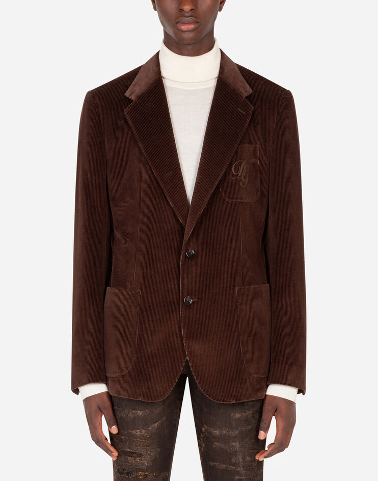 Corduroy Taormina Jacket With Embroidery Dg - Dolce & Gabbana