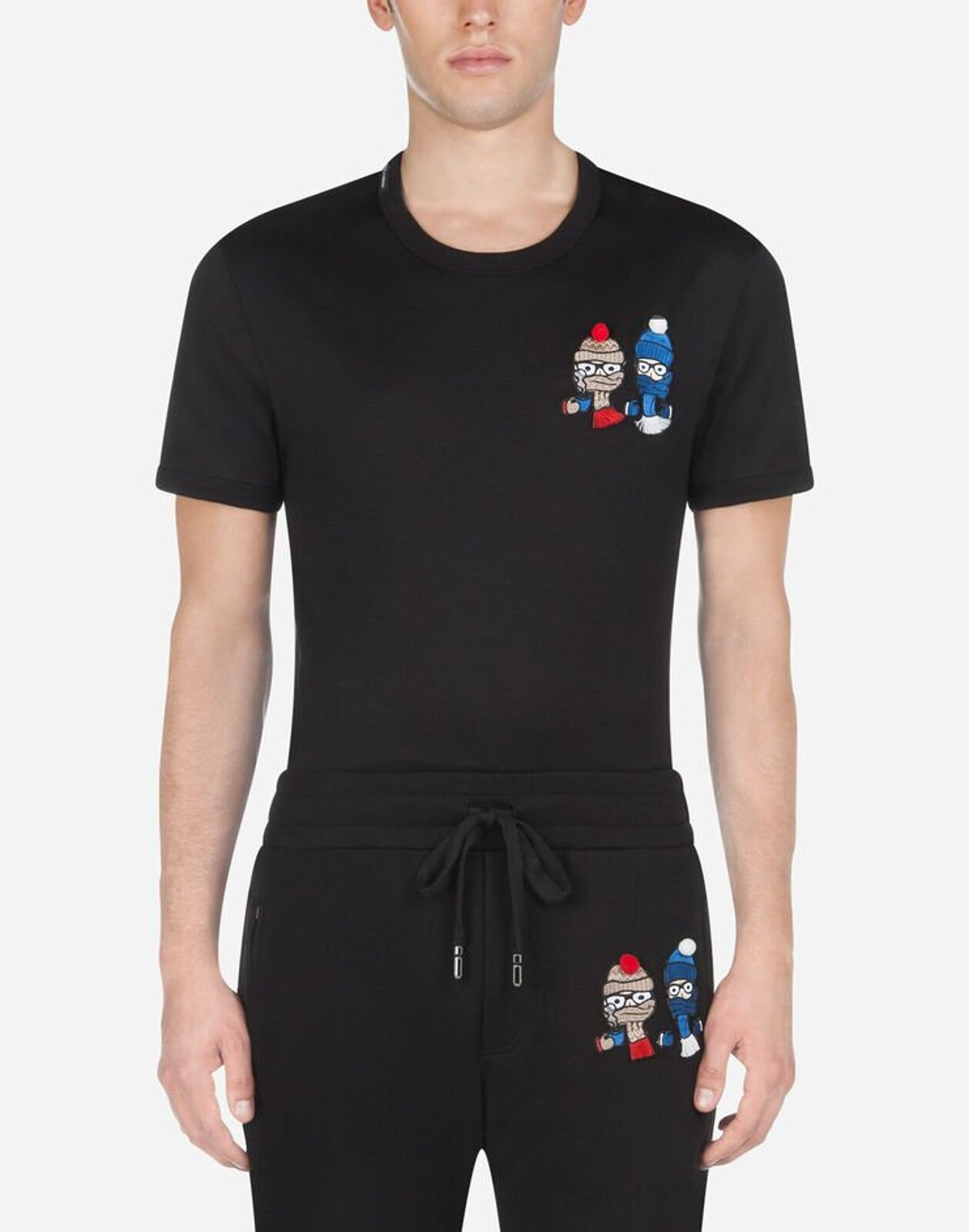 T-Shirt In Cotone Con Patch Dg Family - Dolce & Gabbana