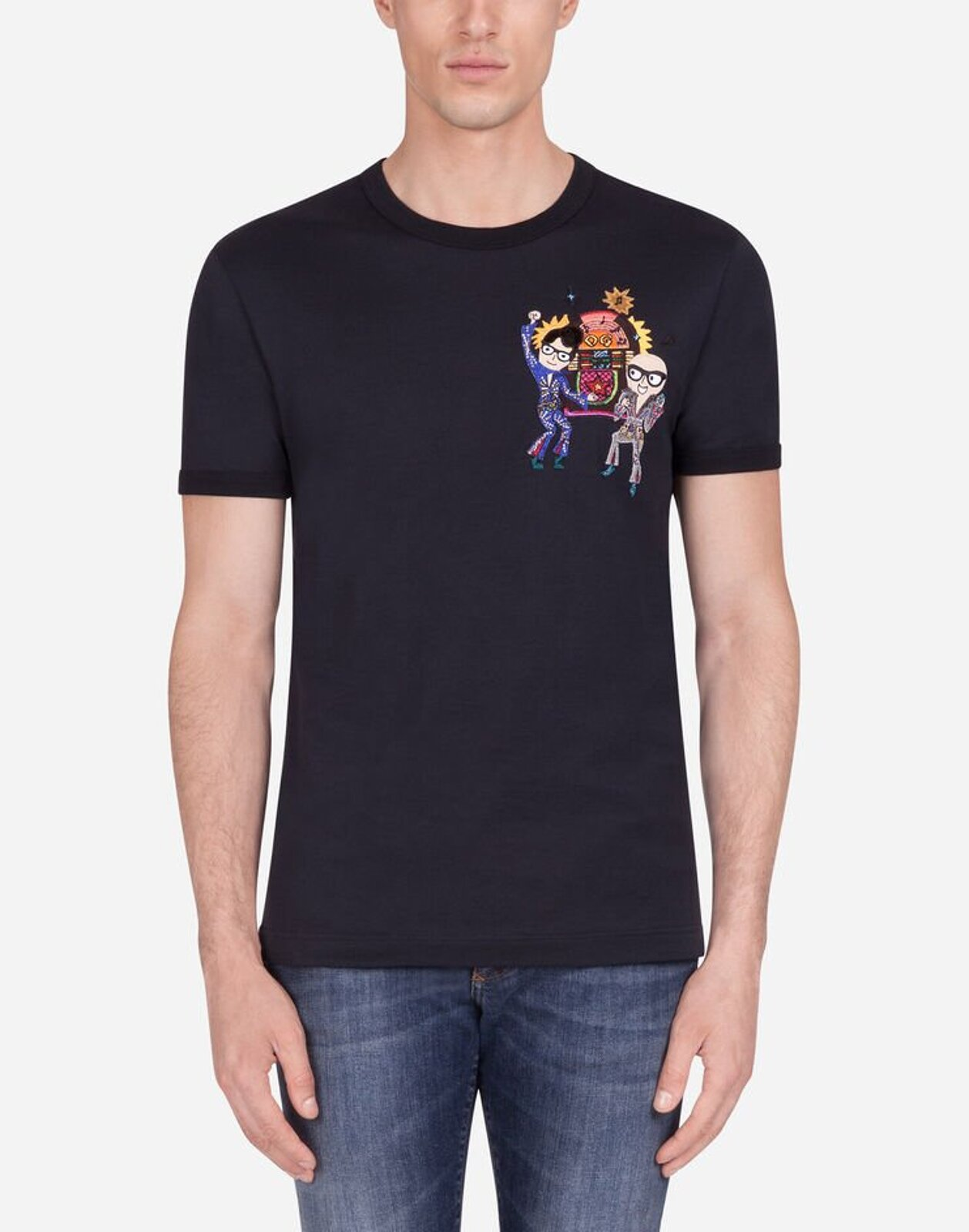 T-Shirt In Cotone Con Patch - Dolce & Gabbana
