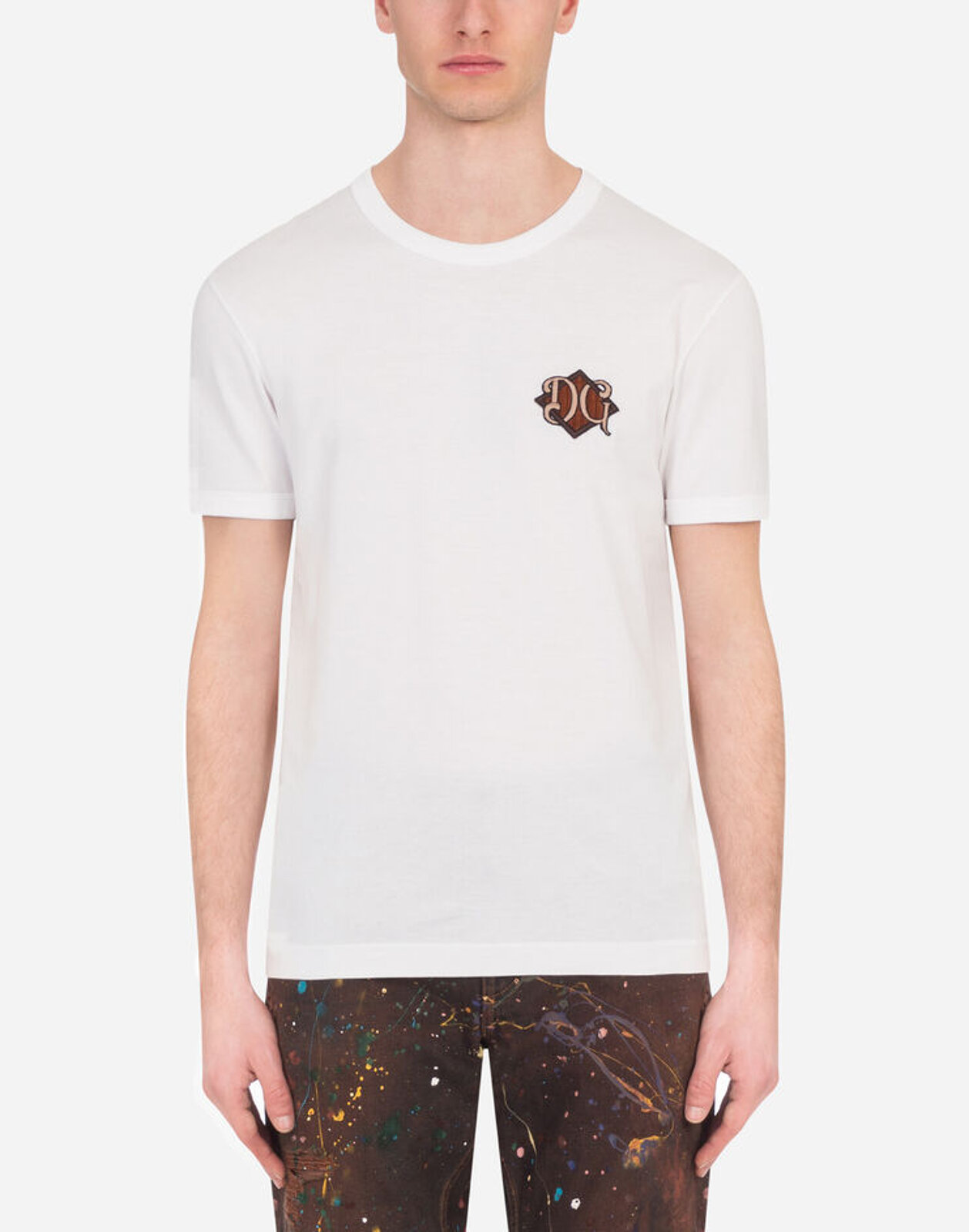 T-Shirt In Cotone Con Patch Dg - Dolce & Gabbana