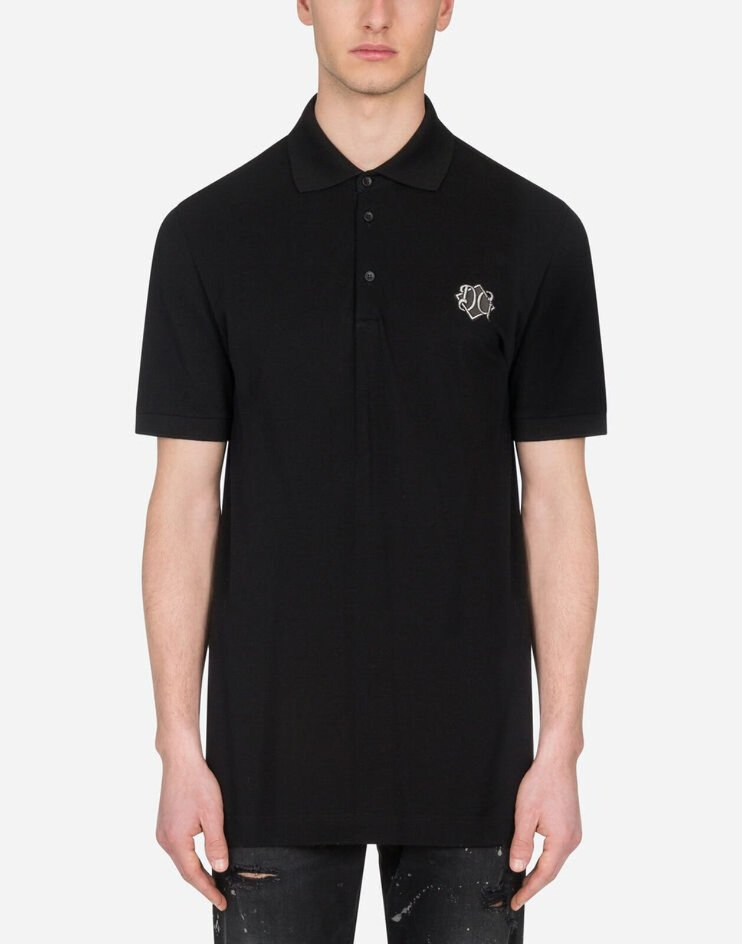 Polo In Cotone Con Patch Dg - Dolce & Gabbana