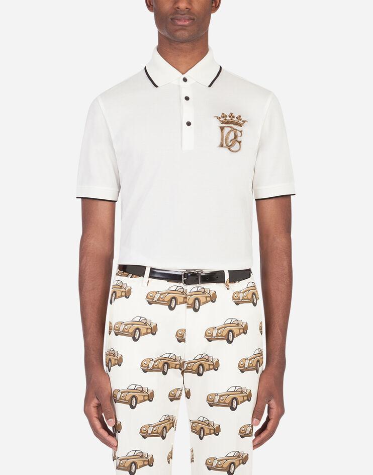 Polo In Cotone Con Ricamo Dg - Dolce & Gabbana